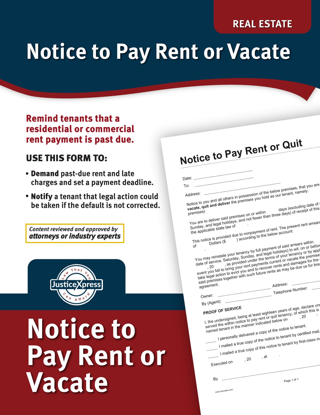Notice to Pay Rent or Vacate