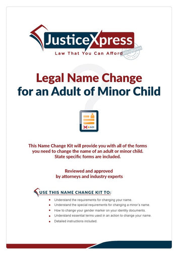 Name Change Legal Forms Kit with Manual and Instructions