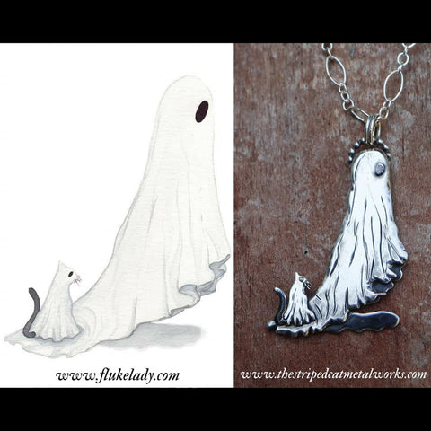 A watercolor painting of a ghost and a ghost cat next to a photo of a sterling silver replica of the painting.