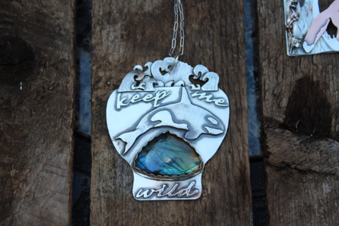 An orca whale and labradorite one of a kind silver pendant