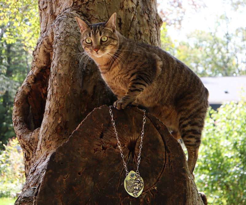 Cat in Orchid Garden Pendant
