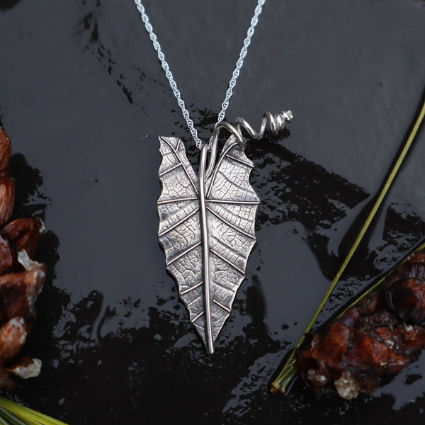 African Mask Leaf Necklace