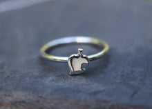Load image into Gallery viewer, A dainty Nook leaf ring shown on a round circular band and on top of a dark grey piece of slate.