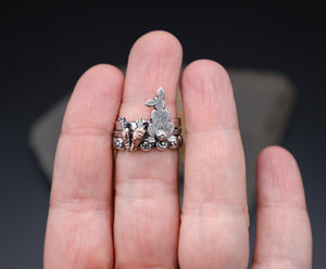 Rabbit, Carrot, and Floral Stacking Rings