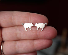 Load image into Gallery viewer, Curly Tailed Pig Earrings-Earrings-The Striped Cat Metalworks