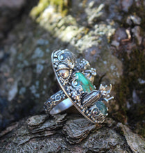 Load image into Gallery viewer, Damele Turquoise Cactus Garden Ring-Rings-The Striped Cat Metalworks