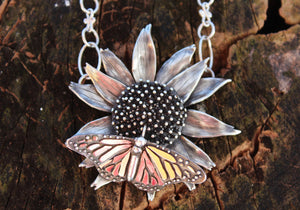 Echinacea and Monarch Pendant-Necklaces-The Striped Cat Metalworks