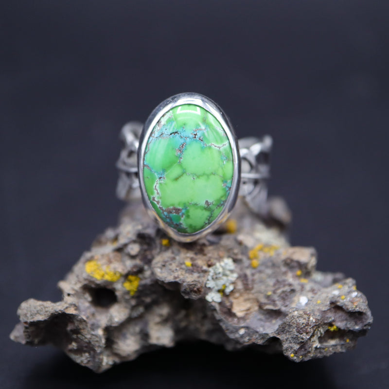 Faustite turquoise stone ring featuring a hand cut monstera obliqua leaf band in a size 10. The ring is shown on a piece of mossy rock.