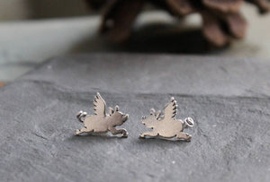 Flying Pig Earrings-Earrings-The Striped Cat Metalworks