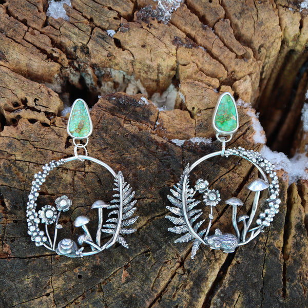 Turquoise Forest Hoops