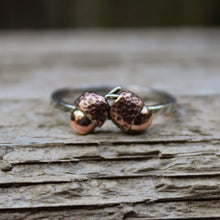 Load image into Gallery viewer, Handcarved Copper Acorn Ring-Rings-The Striped Cat Metalworks