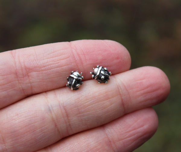 Tiny hand made sterling silver lady bug earrings studs.