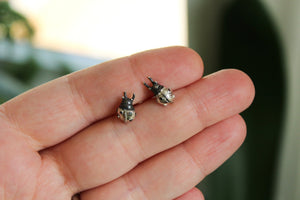 Handcarved Ladybug Stud Earrings-Earrings-The Striped Cat Metalworks