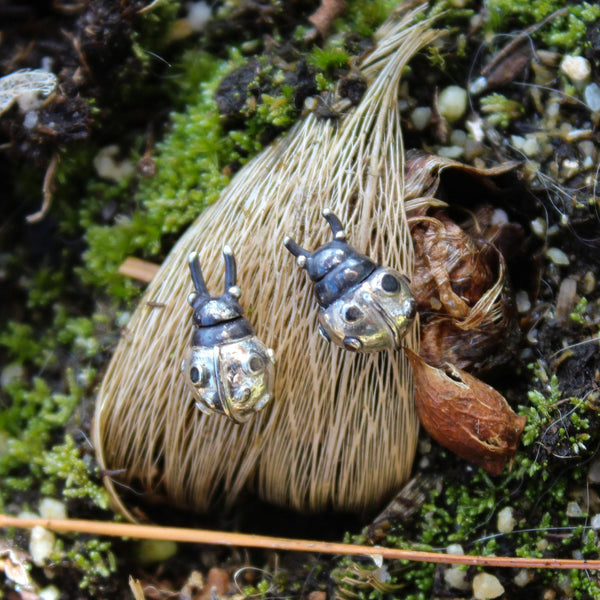 Tiny hand carved sterling silver lady bug earring studs. They are shown on a tiny plant bulb in some moss and sand.