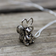 Load image into Gallery viewer, Handcarved Squirrel with Heart Necklace-Necklaces-The Striped Cat Metalworks