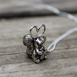 Handcarved Squirrel with Heart Necklace-Necklaces-The Striped Cat Metalworks
