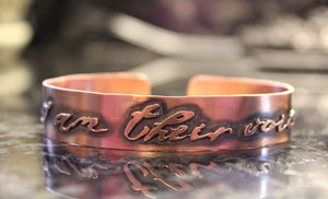 I Am Their Voice Copper Cuff-Cuffs-The Striped Cat Metalworks