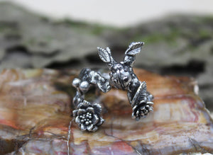 Ladybug Mossy Garden Ring-Rings-The Striped Cat Metalworks