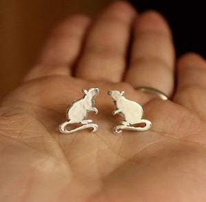 Little Inquisitive Rat Earrings-Earrings-The Striped Cat Metalworks