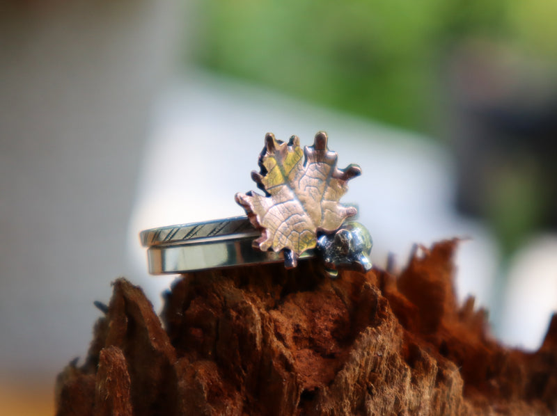 Maple Leaf and Mouse Stacker Ring Set