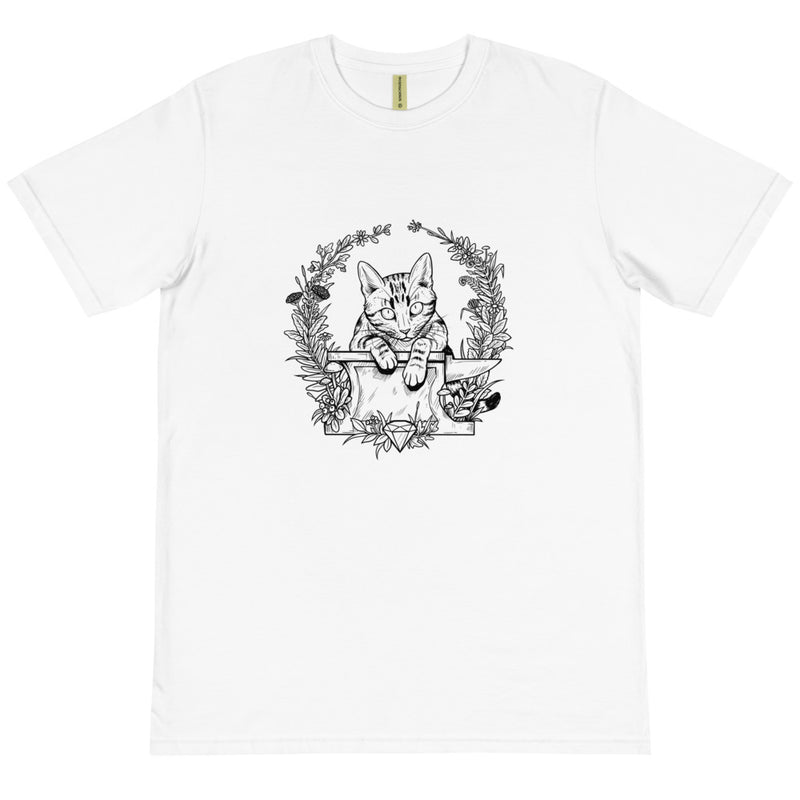 Max the Cat on his Anvil- The Striped Cat Metalworks Organic T-Shirt