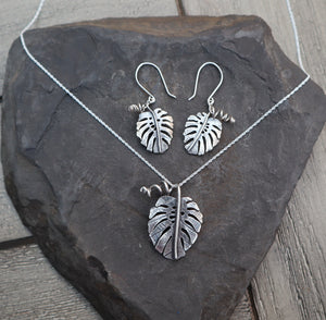 Monstera Deliciosa Dangle Earrings