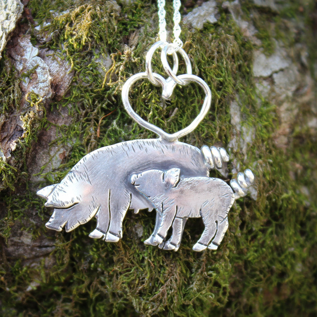 Mother and Piglet Necklace-Necklaces-The Striped Cat Metalworks