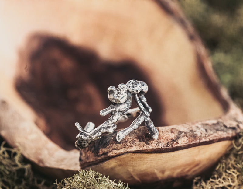 Mouse and Mushroom Twig Ring