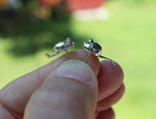 Load image into Gallery viewer, Tiny Silver Mouse Earring Studs-The Striped Cat Metalworks-Mouse Jewelry