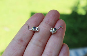 Tiny Silver Mouse Earring Studs-The Striped Cat Metalworks-Mouse Jewelry