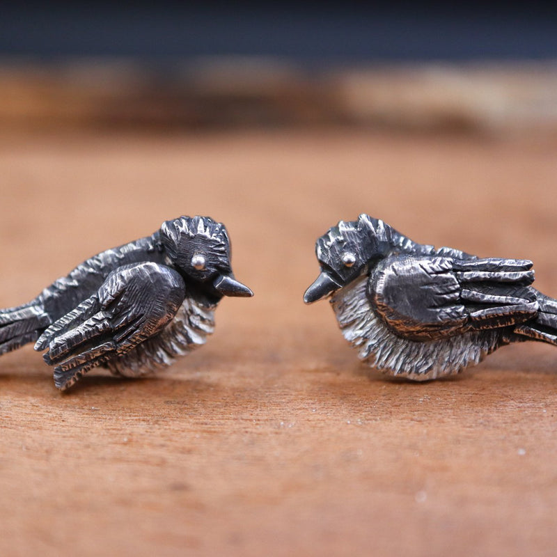 A close up of handmade eastern phoebe earring studs with darkened backs and heads and bright silver bellies.