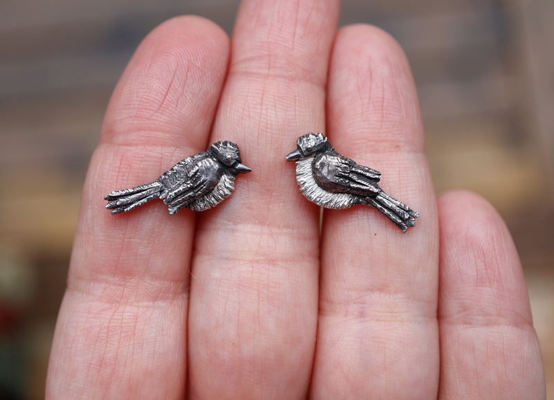 A hand is shown holding a pair of 1 inch wide sterling silver phoebe bird earrings studs.