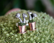 Load image into Gallery viewer, Potted Mushroom Earrings-Earrings-The Striped Cat Metalworks