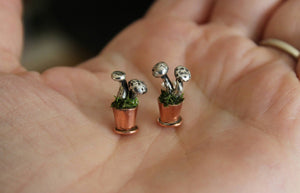 Potted Mushroom Earrings-Earrings-The Striped Cat Metalworks