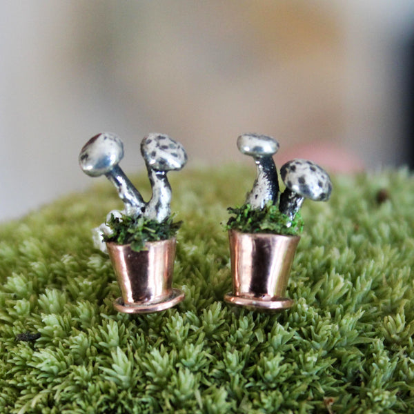 Tiny handmade potted sterling silver and copper mushroom earring studs.