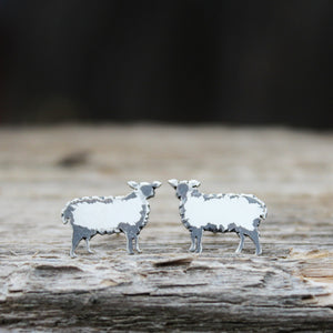 Sheep Stud Earrings Looking Up-Earrings-The Striped Cat Metalworks