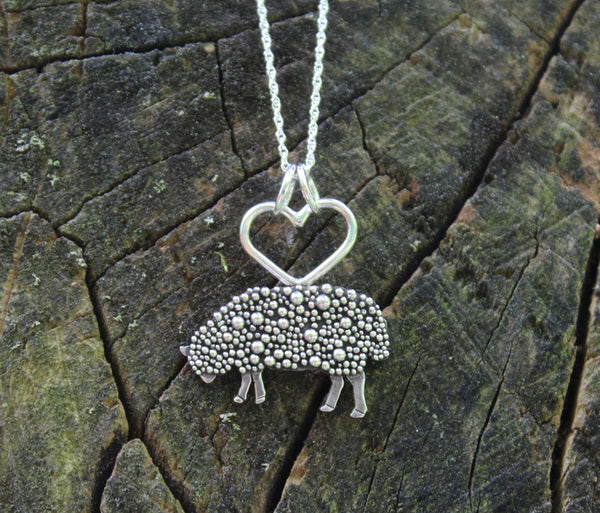 Textured Fluffy Sheep Necklace-Necklaces-The Striped Cat Metalworks