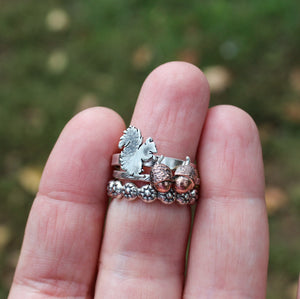 Squirrel, Acorns, and Flower Stacking Rings-Rings-The Striped Cat Metalworks