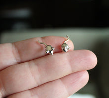 Load image into Gallery viewer, Tiny Handcarved Mouse Studs-Earrings-The Striped Cat Metalworks