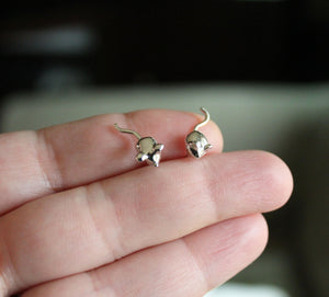 Tiny Handcarved Mouse Studs-Earrings-The Striped Cat Metalworks