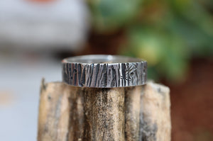 A recycled sterling silver tree bark ring handmade by The Striped Cat Metalworks. The ring is pictured on top of a pumpkin stem.