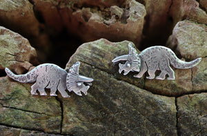 Silver Triceratops Earrings-The Striped Cat Metalworks-Dinosaur Earrings