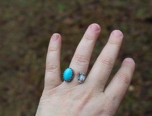 Turquoise and Herkimer Diamond Adjustable Ring-Rings-The Striped Cat Metalworks