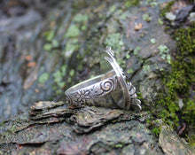 Load image into Gallery viewer, Turquoise Rough Heart Flower Garden Ring One of a Kind-Rings-The Striped Cat Metalworks