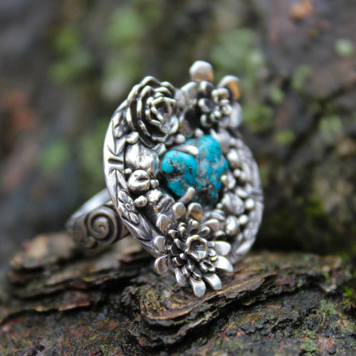 Turquoise Rough Heart Flower Garden Ring One of a Kind-Rings-The Striped Cat Metalworks