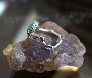 Turquoise with Pyrite Twig Ring-Rings-The Striped Cat Metalworks