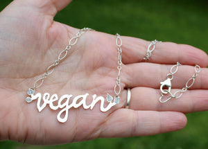 Vegan Word Necklace-Necklaces-The Striped Cat Metalworks