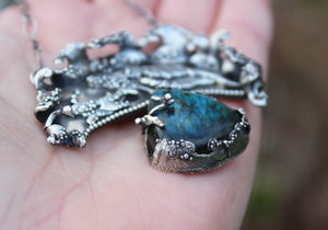 Whale Mother and Calf Ocean Pendant with Labradorite-The Striped Cat Metalworks