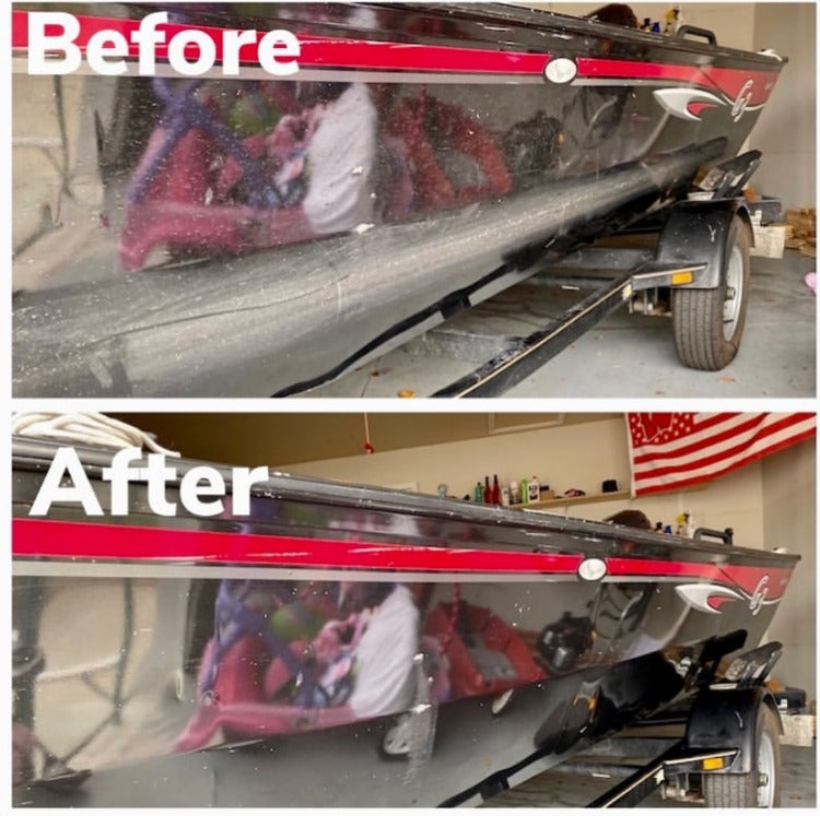 Before-and-after cleaning aluminum boat with Bling Sauce