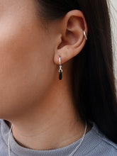 Load image into Gallery viewer, Teardrop Stone Silver Hoops